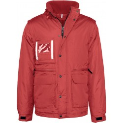 PARKA ROUGE MANCHES AMOVIBLES